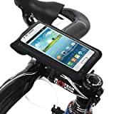 BM WORKS Slim3 Bike Mount Medium Size Black - Secure Bicycle Phone Case Holder with Plug Holes for Earplugs For iPhone 6, 5S, 5C, 5 ,4S, 4 , Google Nexus 5, 4 , Samsung Galaxy S4 , HTC One Mini, Desire 320, Desire 510 , Motorola Droid Ultra, Droid Maxx, Droid Mini, Moto E, Moto G, Moto X, RAZR Maxx