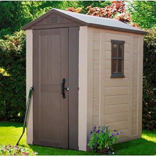 Caseta de jardín suelo jardín cobertizo para tejado estantería organizador plástico grande al aire libre de almacenamiento Windows cobertizo de jardín de cierre y e libro: Amazon.es: Jardín