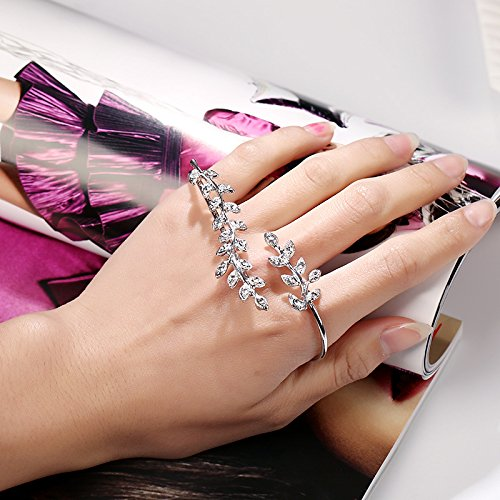 LOVFASH Adjustable Cubic Zirconia Open Palm Cuff Bracelets Hand Bangle for Women Girls Gifts