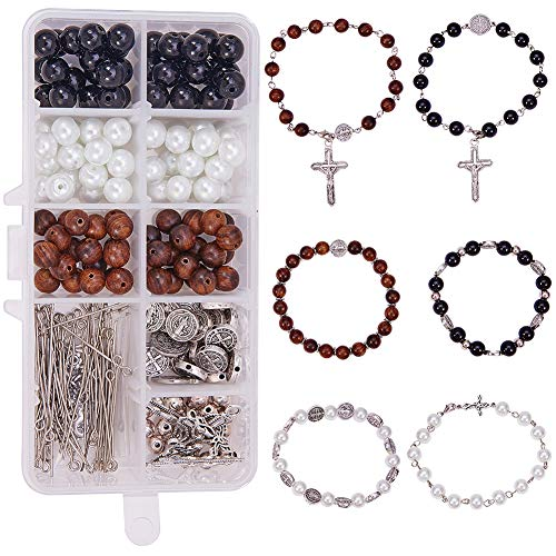SUNNYCLUE 1 Box DIY 6Set Beaded Stretch Rosary Bracelet Making Kit Catholic Jesus Christ Crucifix Cross Prayer Beads Craft Kit, Nickel Free