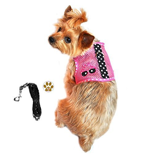 Hot Pink Sunglasses Under The Sea Cool Mesh Harness Vest w/Leash and Pin Set - Dog Sizes XS thru L (Large- Chest 24