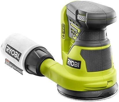 Ryobi RS290G 2.6 Amp 12,500 OPM Single Speed 5 Inch Hook and Loop Corded Random Orbit Sander w// 3 Pads and Dust Bag