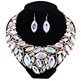African Beads Jewelry Sets Women Bridal Crystal Statement Necklace Earring Jewelry Sets (Gold AB Color)