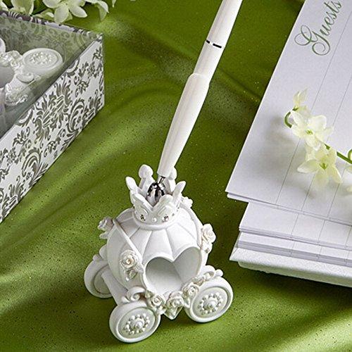 Zehui Romantic Wedding Accessory Wedding Pen and Pumpkin Carriage Design Base Set White 16cm