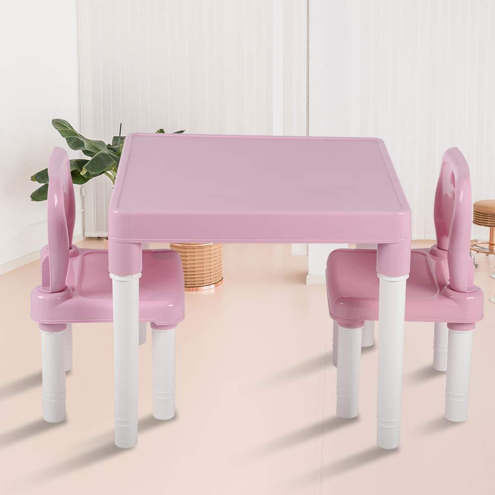 Blu e Verde Set di sedie da Tavolo in plastica per Bambini per Bambini Apprendimento Studiare Scrivania per la Scuola Materna Domestica Wosume Set di sedie da Tavolo per Bambini
