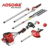 AOSOME 52CC Petrol Multi Function 5 in 1 Garden Tool - Hedge Trimmer, Grass...