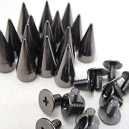 Goth Punk Spikes - RUBYCA 100 sets 14MM Black Gunmetal Color Bullet Cone Spike Stud Metal Screw Back DIY Leather-craft