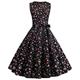 Xavigio_Women Dresses Women's Retro Boatneck Sleeveless Vintage Tea Dress with Belt A-Line Dresses
