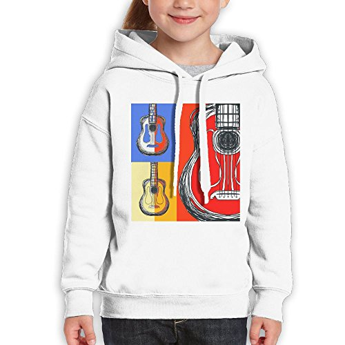 Ibanez Acoustic Blocks - Anraglan Color Block Guitars Youth Long Sleeve Pullover Hooded Sweatshirt White Size M