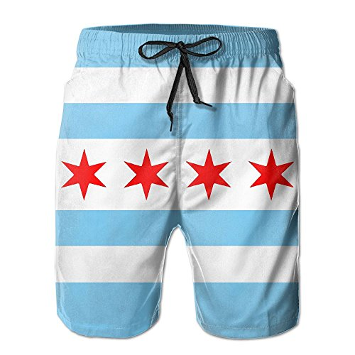 NaNa Home Chicago Flag Style Men's colorful Beach Shorts Swim Trunks - Flag Mens Shorts Chicago