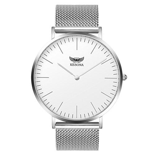 (Women Waterproof Watches- KESONA Japanese Movement Elegant Casual Wrist Quartz Watch- Ultra Thin Stainless Steel Silver Mesh Strap- Sapphire Glass Watch- White dial)