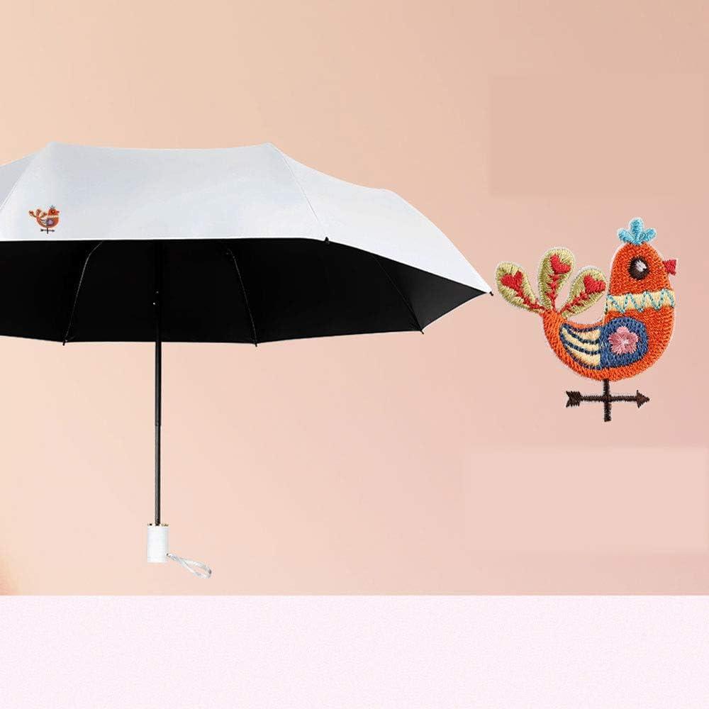 Yifuty Paraguas de la mascota del bordado Pequeño hielo 10,5 pulgadas Manual del paraguas de sol Mujer Hombre verano a prueba de viento impermeable plegable paraguas protector solar Sunny Day Rainy Da