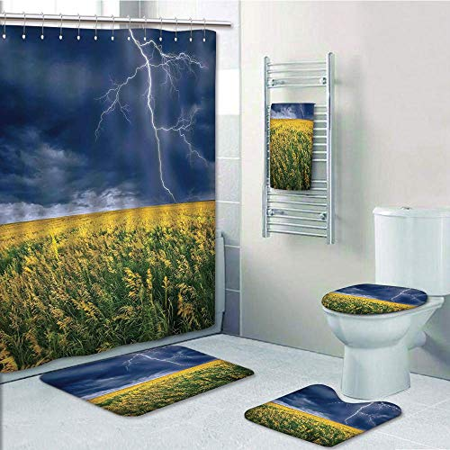 Bathroom 5 Piece Set shower curtain 3d print Multi Style,Lake House Decor,Lightning Bolt above the Seasonal Field Electric Vibes Mother Nature Theme Image,Yellow Blue,Bath Mat,Bathroom Carpet - Bay Bed Tampa Lightning Set