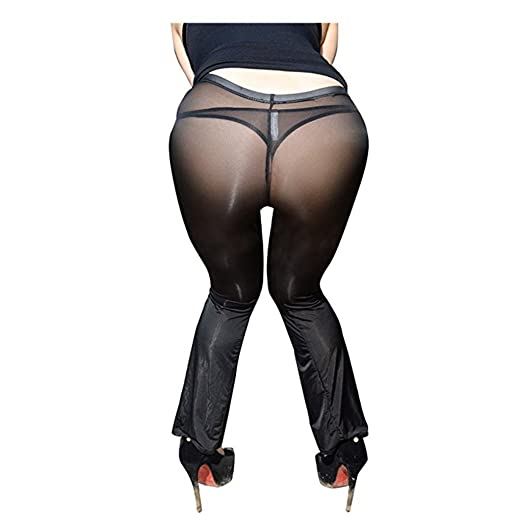 46abd2693b24e3 Amazon.com: IGIG Women's Silky Stretchy See Through Sheer Long Flare Pants Tights  Leggings: Clothing