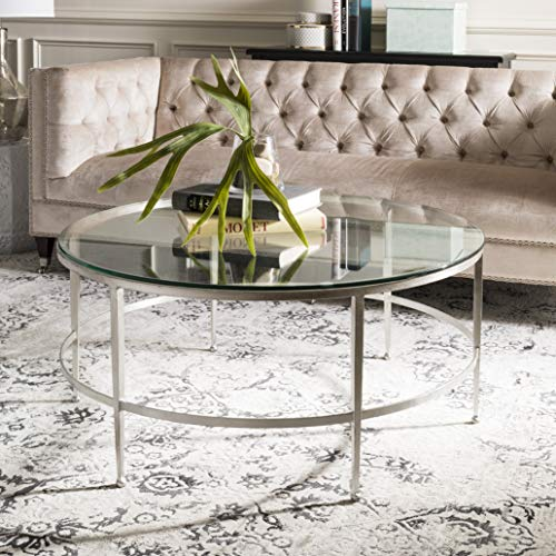 (Safavieh AMH8304B Home Collection Edmund Antique Silver Glass Cocktail Coffee Table,)