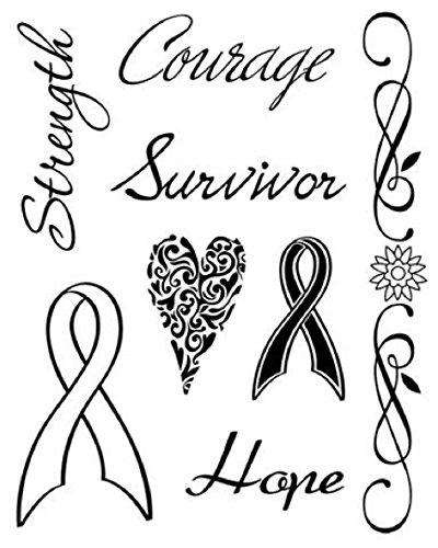 KAREN FOSTER Design Scrapbooking Clear Stamps, Hope Strength Courage, 12 x 12