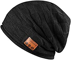 Pococina Upgraded 4.2 Bluetooth Beanie Hat Winter Knit Music Hat Cap Headphones Bluetooth Wireless Speaker Beanie Hat as Christmas Birthday Gifts for Men Women Teen Girls Boys, Built-in Mic