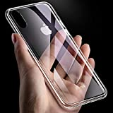 iPhone XR Case,Shinwo 9H Tempered Glass Back Cover [Scratch-Resistant] + Soft Silicone Bumper [Shock-Absorption] Protective Case Cover for Apple iPhone XR 6.1 inch - HD Clear