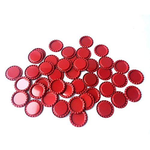HAWORTHS 100 PCS Flat Decorative Bottle CaP Craft Bottle Stickers Double Sideds Printed for Hair Bows, DIY Pendants or Craft ScraPbooks Dark Red
