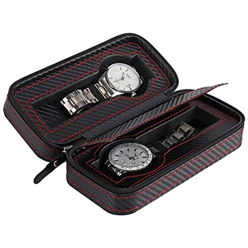 Black Zippered Watches Box Travel Case - Watch Storage Organizer Collection - Top Grade Carbon Fibre PU Leather (2-Slot)
