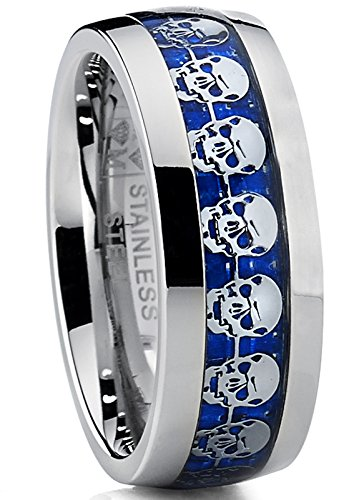 Metal Masters Co. Dome Stainless Steel Ring Band with Blue Carbon Fiber and Skull Design
