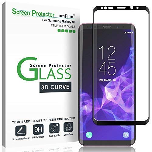 amFilm Glass Screen Protector for Samsung Galaxy S9, 3D Curved Tempered Glass, Dot Matrix with Easy Installation Tray, Case Friendly (Black) ()