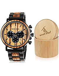 Wooden Mens Watches Large Size Stylish Wood & Stainless Steel Combined Chronograph Military Quartz Watch (Balck Wood Band)