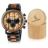BOBO BIRD Wooden Mens Watches Large Size Stylish Wood & Stainless Steel Combined Chronograph Military Quartz Watch...