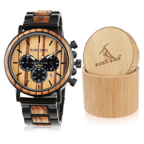 (BOBO BIRD Wooden Mens Watches Large Size Stylish Wood & Stainless Steel Combined Chronograph Military Quartz Watch (Balck Wood Band))