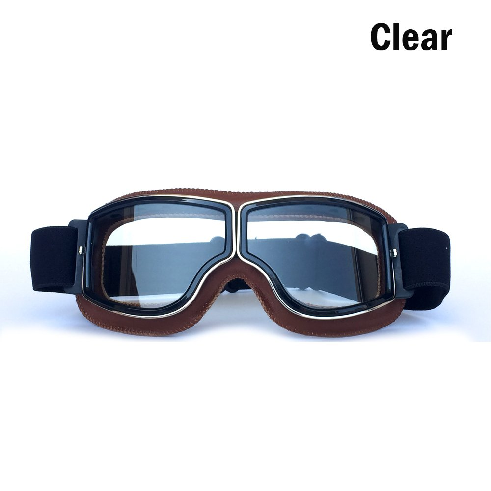 Yopria Vintage Goggles Sports Sunglasses Helmet Steampunk Eyewear for Outdoor Motocross Racer Motorcycle Aviator Pilot Style Cruiser Scooter Goggles Retro Brown Frame Clear Lens