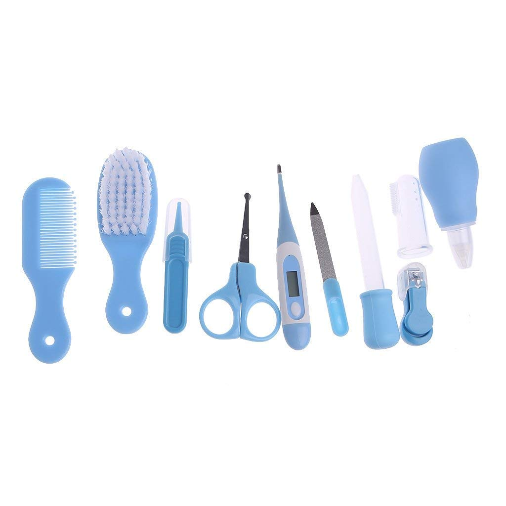 Baby Health & Personal Care Kits 10pcs/Set Newborn Baby Kids Nail Hair Health Care Thermometer Grooming Brush Kit (Blue) by River