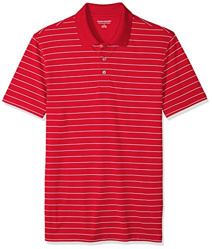Amazon Essentials Men's Slim-Fit Quick-Dry Golf Polo Shirt, Red Stripe, X-Small ()
