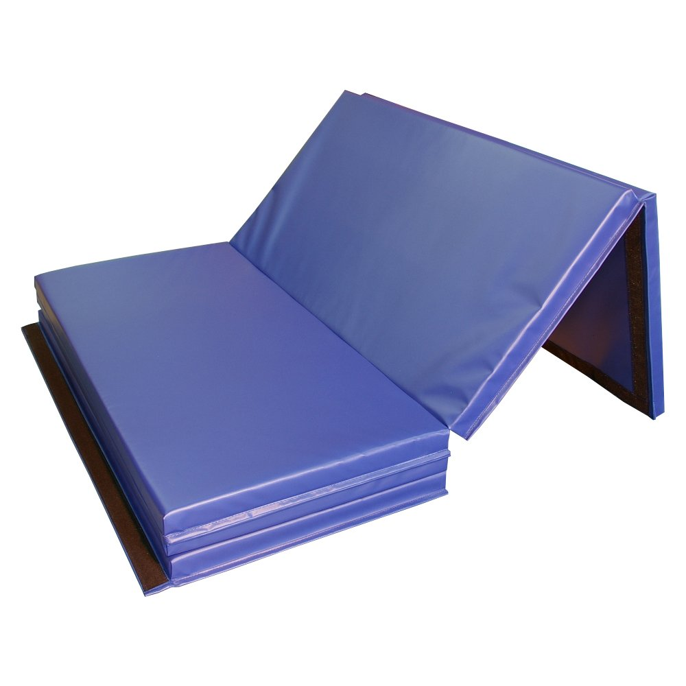 Greatmats Gym Folding Mat Exercise Cheerleading Tumbling 2 Inch Thick 4 x 10 (Blue)