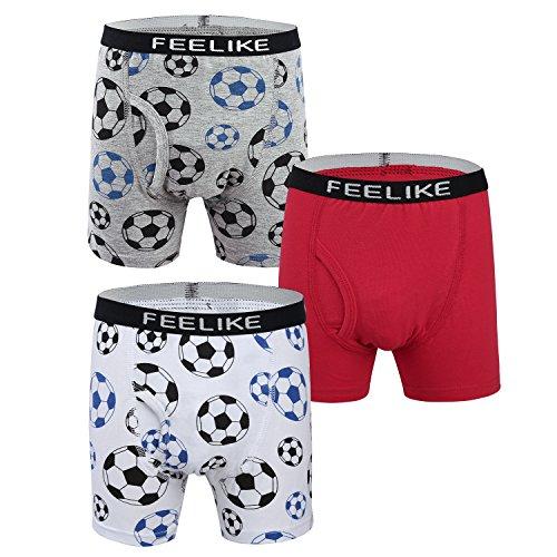 FEELIKE Boy's Underwear Give-N-Go Boxer Brief With Charming Football (Boys Football Underwear)