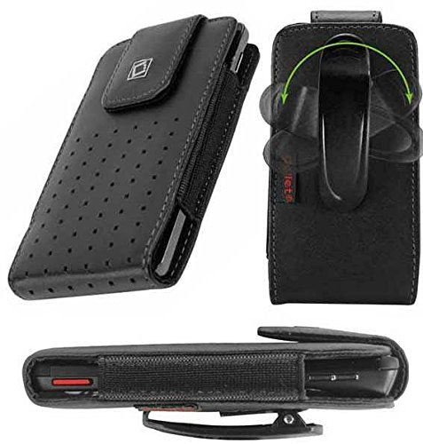 (Vertical Style Slide in Case Made in Genuine Leather with Strap Closure and Fixed Swivel Clip Black for Asus ZenFone 2)
