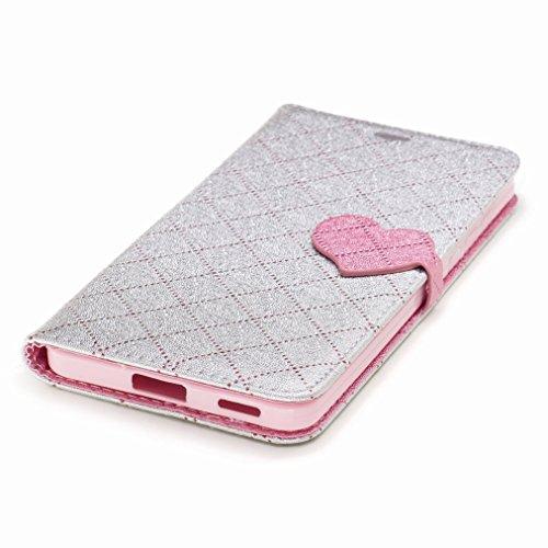 Yiizy Nokia 6 Custodia Cover, Amare Design Sottile Flip Portafoglio PU Pelle Cuoio Copertura Shell Case Slot Schede Cavalletto Stile Libro Bumper Protettivo Borsa (Grigio)