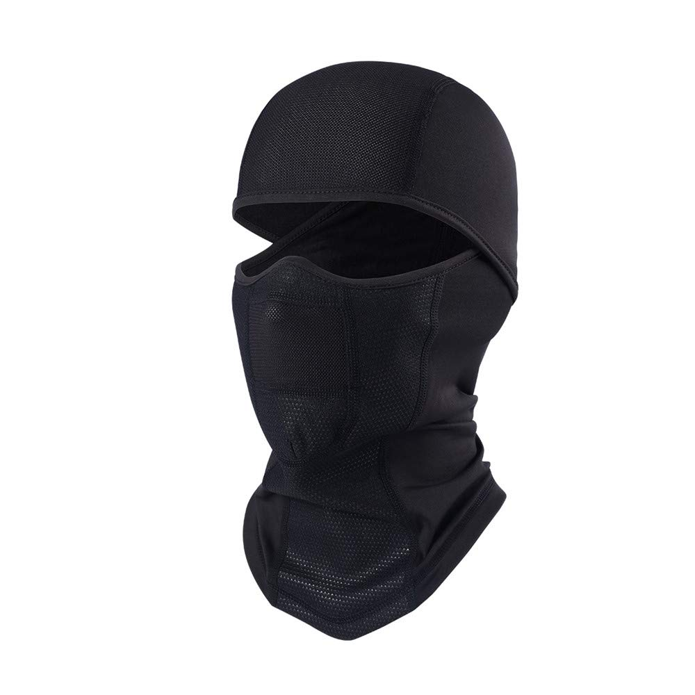 TEFITI Fleece Balaclava Half Face Wind-poof Winter Warmer for Motorcycling, Cycling, Skiing, Hiking, Running Headwear Black (thicken) BI