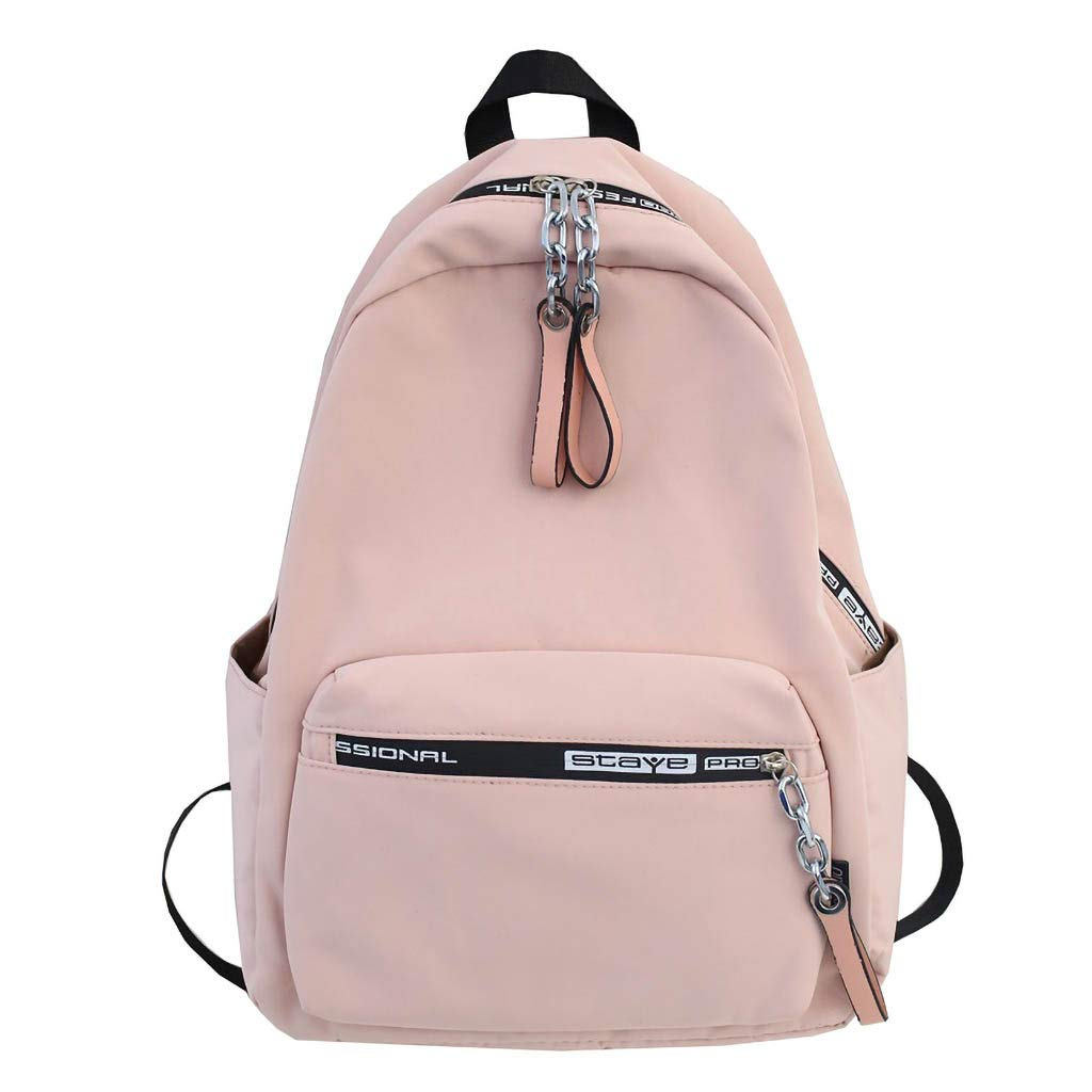 Large Capacity Backpack Bag, Students Daily Use Waterproof Nylon Simple Canvas School Bookbag Travel Dayback (Pink)