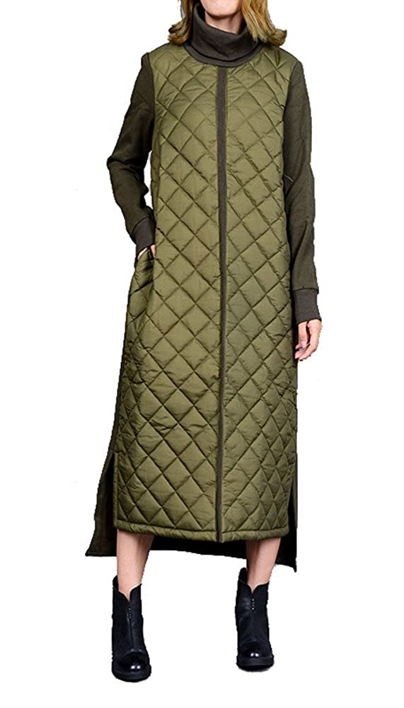Gihuo Womens Fashionable A-Line Turtleneck False 2 Pieces Rhombus Quilted Long Stitching Pullover Sweater Dress