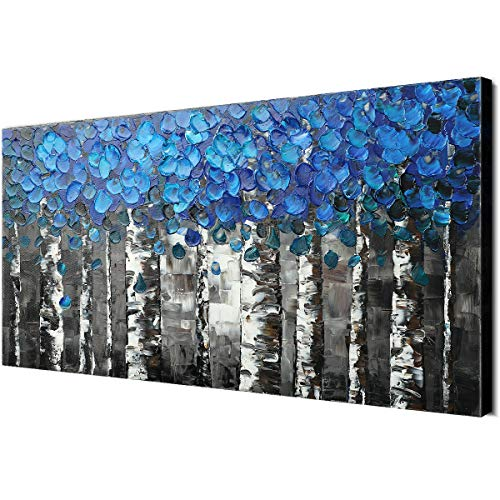 100% Hand Painted Black & Blue Leaves Flower White Birch Forest Oil Paintings Home Wall Decor Canvas Art Modern Contemporary Abstract Landscape Trees 3D Hand-Painted Decoration Living Room