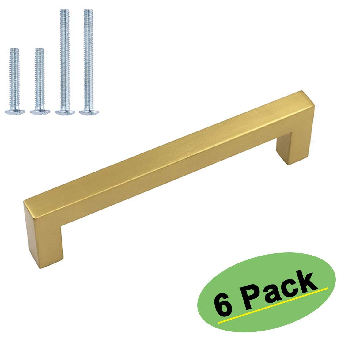 5 inch Cabinet Pulls Gold Cabinet Handles 6 Pack - homdiy HDJ12GD Gold Cabinet Hardware Pulls Bathroom Cabinet Pulls Gold Kitchen Drawer Pulls for Closet, Wardrobe