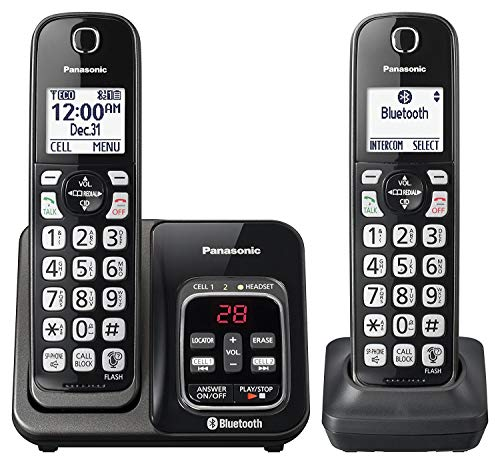 Panasonic KX-TGD562M Link2Cell Bluetooth Cordless Phone with Voice Assist and Answering Machine - 2 Handsets (Renewed) ()