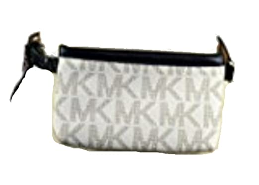 faa0aa6ee15876 Image Unavailable. Image not available for. Color: Michael Kors MK Leather Fanny  Pack, Vanilla/Navy,Size Medium