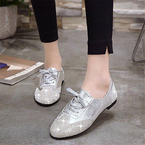 Club Estate Color con Pu Up Donna B Scarpe Lace 36 e Strass Sneakers Glitter Dimensione Feste Mocassini Serate da Piatto Scarpe Tacco per tIOxxH8