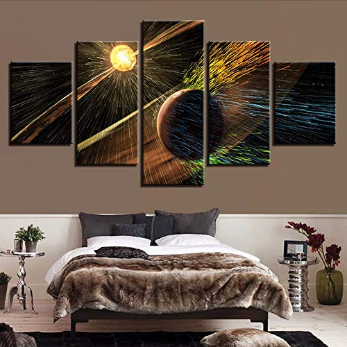 Yyjyxd Art Posters Printing Pictures Frame Modern 5 Pieces Basketball and Lamp Rains Night View Modular Canvas Painting Wall Decoration,4X6/8/10Inch,with Frame