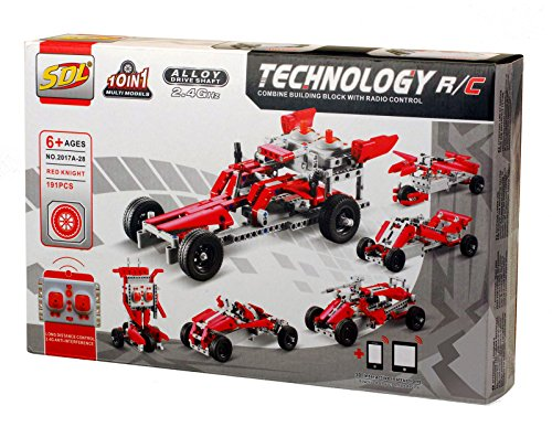 Bo Toys R/C 10 in 1 Race Cars Building Bricks Radio Control Toy, 191 Pcs DIY Kit with USB Rechargeable Battery, Construction Build It Yourself Toys