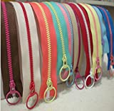 zipper for sewing - 40CM 10 PCS CONTRAST COLOR 3# Resin Zippers Lifting Ring Quoit Zipper DIY Handmade Accessory Sewing Craft Bag Garment Material
