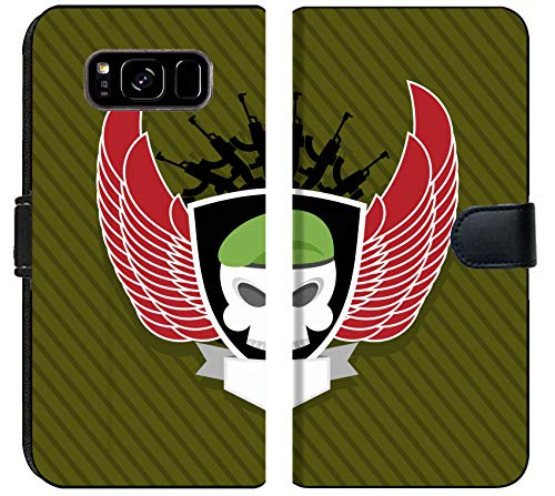 Luxlady Samsung Galaxy S8 Plus Flip Fabric Wallet Case Image ID: 37480345 Military Emblem Skull with Wings to take Label on The Form ()