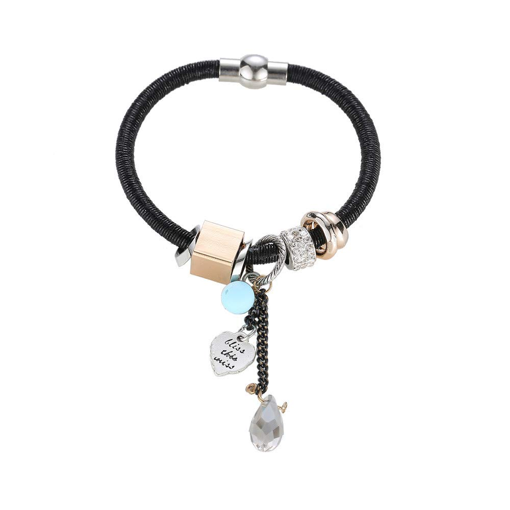 Women Personalized Multi-Layer Wrap Accessories Beads Charm Bangle Bracelets Gift for Girls Mens Teens Student Best Friend Forever(B)