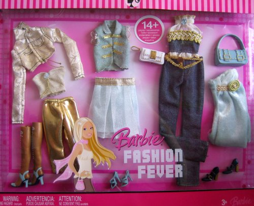 Barbie Fashion Fever Fashions 14+ Pieces Gold & Blue Tone Fashion Outfits (2007) by Barbie